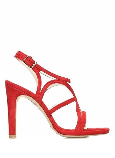 Beymen Collection İnce Topuklu %100 Süet Sandalet Kırmızı